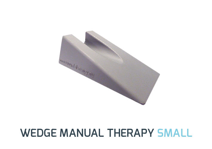 The small wedge for Manual Therapy is used for mobilizations of smaller joints such as hand and fingers. The bottom of the wedge can be used as a positioning tool for extremity mobilization.  The non-slip rubber construction is comfortable for the patient and the rubber also prevent wedge from slipping. </br> <b>Size:</b> 16cm x 10cm x 5 cm </br> <b>Color: </b> Gray