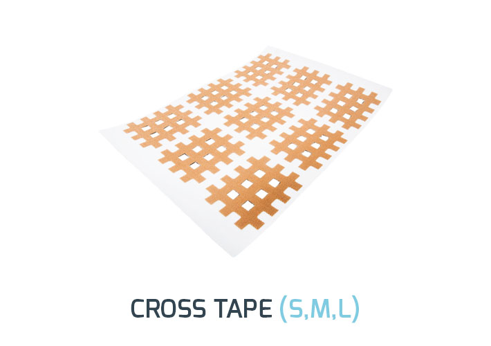 Kinesiology Cross Tape is used for pain, to restore function and to reduce tension. Function impairments and range of motion limitations can be influenced positively. It is a soft and gentle treatment and stays on the skin for many days.</br><b>Size:</b> S, M, L  </br><b> Color:  </b>Beige