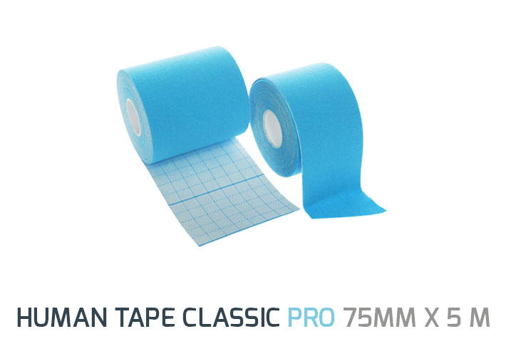 Human Tape PRO 7,5 cm  is wider than standard  tape.  It is a great solution for taping applications on larger body areas such as the back, quadriceps, hamstrings or IT band. This extra wide Human Tape can also be used to create heavy duty X,Y and I cuts or more complex fan or web cuts.</br> <b>Size:</b> 75mm x 5m </br><b> Colors:</b> Blue